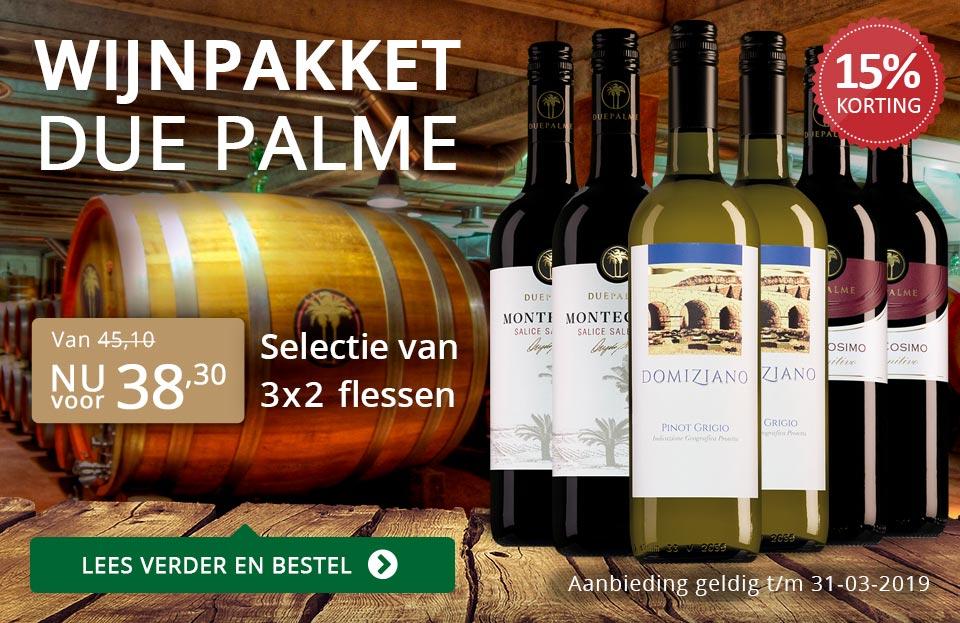 Wijnpakket Due Palme (38,30) - grijs/goud