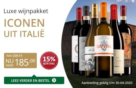 Wijnpakket luxe italiaanse wijnen (185,00) - goud/zwart